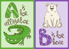Children Alphabet with Funny Animals Alligator and Bear. Colorful children alphabet with funny cartoon animals. Isolated cards with letter A and B. Alligator Royalty Free Stock Photo