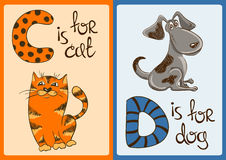 Children Alphabet with Funny Animals Cat and Dog. Royalty Free Stock Images