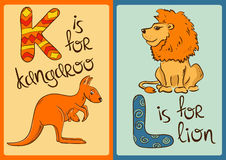 Children Alphabet with Funny Animals Kangaroo and Lion. Royalty Free Stock Photos