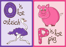 Children Alphabet with Funny Animals Ostrich and Pig. Royalty Free Stock Images
