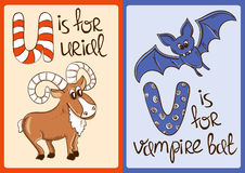 Children Alphabet with Funny Animals Urial and Vampire Bat. Royalty Free Stock Photo
