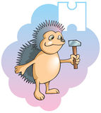 Children alphabet: letter H. Series of Children alphabet: letter H, hedgehog and hammer, cartoon vector illustration Stock Illustration