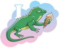 Children alphabet: letter I. Series of Children alphabet: letter I, iguana and ice-cream, cartoon vector illustration Royalty Free Stock Image