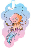 Children alphabet: letter J. Series of Children alphabet: letter J, jellyfish and jumping-rope, cartoon vector illustration Stock Image