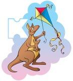 Children alphabet: letter K. Series of Children alphabet: letter K, kangaroo and kite, cartoon vector illustration Stock Photos