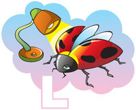 Children alphabet: letter L. Series of Children alphabet: letter L, ladybug and lamp, cartoon vector illustration Stock Photography