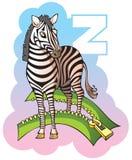 Children alphabet: letter Z. Series of Children alphabet: letter Z, zebra and zipper, cartoon vector illustration Stock Images