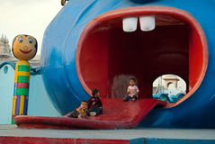 Children amusement. A group of children are enjoying the ride at children amusement park in Ramoji film city, India Stock Image