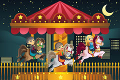 Children in amusement park royalty free illustration