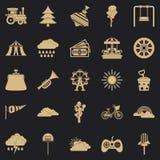 Children amusement park icons set, simple style vector illustration