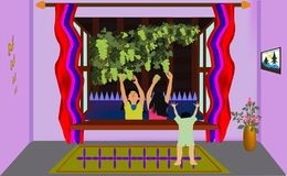 Free Children And Grapes Room View Stock Images - 159520254