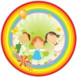 Children And Rainbow Stock Photography