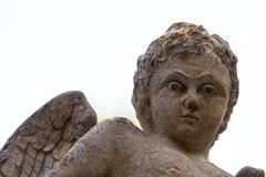 Free Children Angel Statue In City Cemetery Isolated With White Background Stock Photography - 104060102