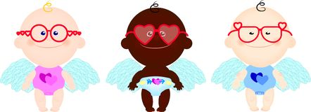 Children angels wings hearts spectacles Royalty Free Stock Photo