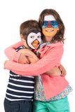 Kids with animal face-paint stock photo