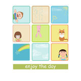 Children and animal. On pattern Royalty Free Stock Photography