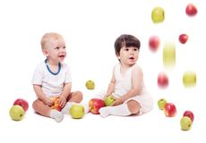 Children with apple Royalty Free Stock Photos