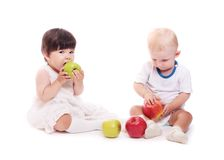 Children with apple Royalty Free Stock Photo