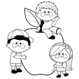 Children and apple. Black and white coloring book page stock illustration