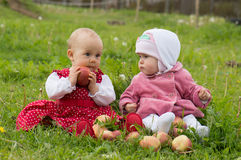 Children with apples Royalty Free Stock Image