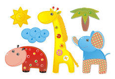 Children Applique 'Africa'. Elephant, hippopotamus and giraffe Royalty Free Stock Photography