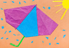 Children applique - umbrella and sunshower Royalty Free Stock Images