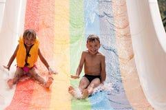 Children at aqua park royalty free stock image