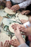 Children arms making doughs at pizza workshop Royalty Free Stock Images