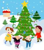 Children around a beautiful, festive Christmas tre. E,illustration Royalty Free Stock Photo