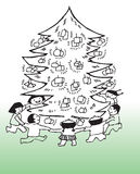 Children around Christmas tree. Cartoon illustration of children dancing around Christmas tree with presents stock illustration