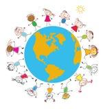 Children around the Earth. Conceptual background. Stock Photos