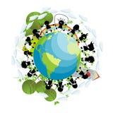 Children around the globe. Conceptual scenery with green planet happy children silhouettes Stock Photo