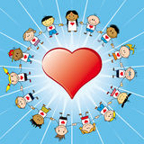 Children around a heart  Stock Photo