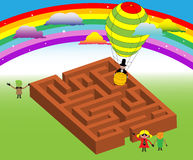 Children around the maze. Abstract colored background with rainbow, small stars, clouds, hot air balloon and children playing around a maze Stock Photos