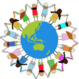 Children Around the World. Illustration of multi-cultural children holding hands surrounding the globe, symbolizing world unity and peace...other illustrations Royalty Free Stock Photography