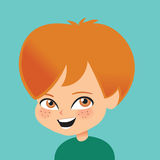 Young Boy Smiling Retro Cartoon Illustration Stock Photos