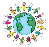 Children around the world in the blue circle. On white background Royalty Free Stock Photo