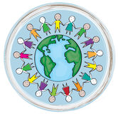 Children around the world in the blue circle Stock Image