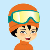 Young Boy Portrait Wearing Ski Gear Winter Outfit  Stock Photo