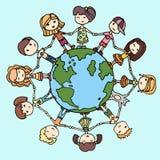 Children around the world. Kids around the world. Earth day illustration with children Stock Image