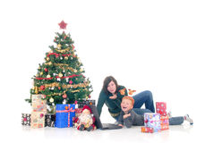 Children around Xmas three Royalty Free Stock Images