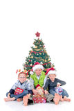 Children around Xmas three Royalty Free Stock Image
