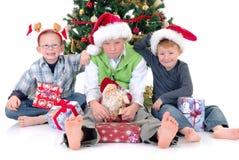 Children around Xmas three Royalty Free Stock Image