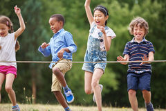 Free Children Arriving To The Finish Line Royalty Free Stock Image - 62842136