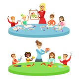 Children In Art Class Two Cartoon Illustrations With Elementary School Kids And Their Techer Crafting And Drawing In. Creativity Lesson. Happy Schoolkids vector illustration