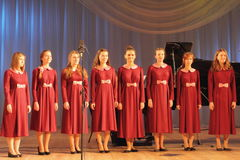 Children artists. Chorus girls Ogonyok on the stage of the Kyiv Palace of children and youth. the city of Kiev. festival Stairs abilities stock photo