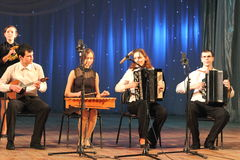 Children artists musicians. Musical sextet children's collectives of folk instruments on the stage of Kiev vdortsa children and youth. Jewish music royalty free stock photos