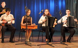 Children artists musicians. Musical sextet children's collectives of folk instruments on the stage of Kiev vdortsa children and youth. Jewish music royalty free stock image