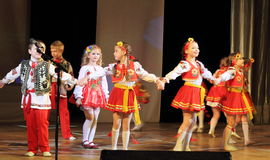 Children artists in national dress. Speech by the art group Soniah on the stage of the Kyiv Palace of children and youth. Yuileyny concert dedicated to the Stock Image