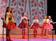 Children artists in national dress. Speech by the art group Soniah on the stage of the Kyiv Palace of children and youth. Yuileyny concert dedicated to the Royalty Free Stock Image